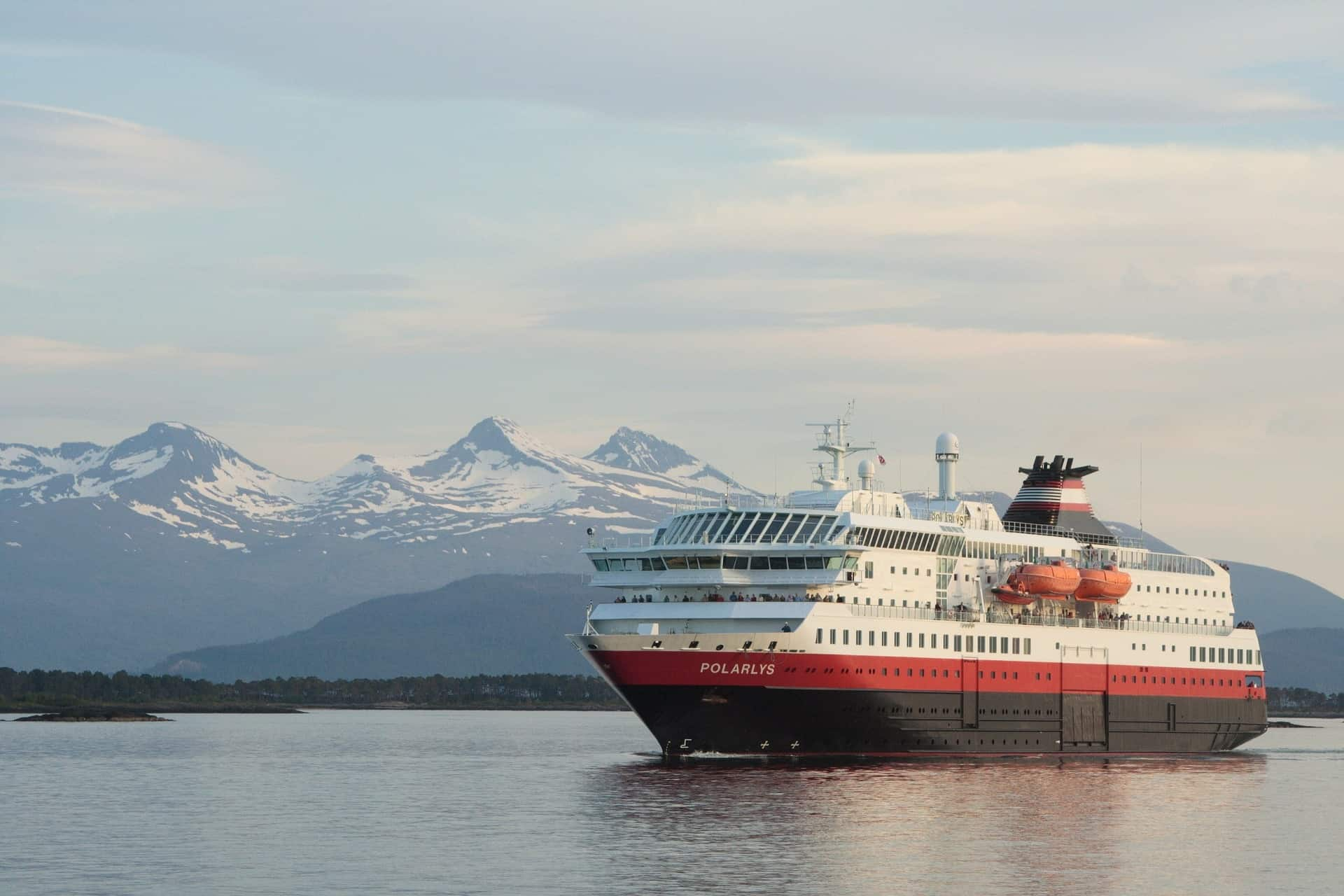Hurtigruten departs from the ancient Hanseatic city of Bergen and sails all the way to Kirkenes, near the border with Russia and then back to Bergen.
