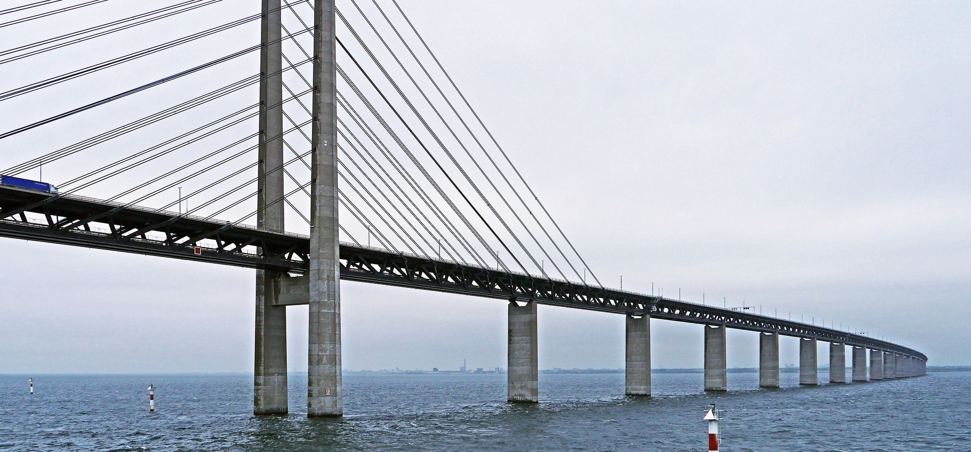The Øresund bridge is a cable-stayed bridge with a total length of 7,845 meters and a main span of 490 meters.