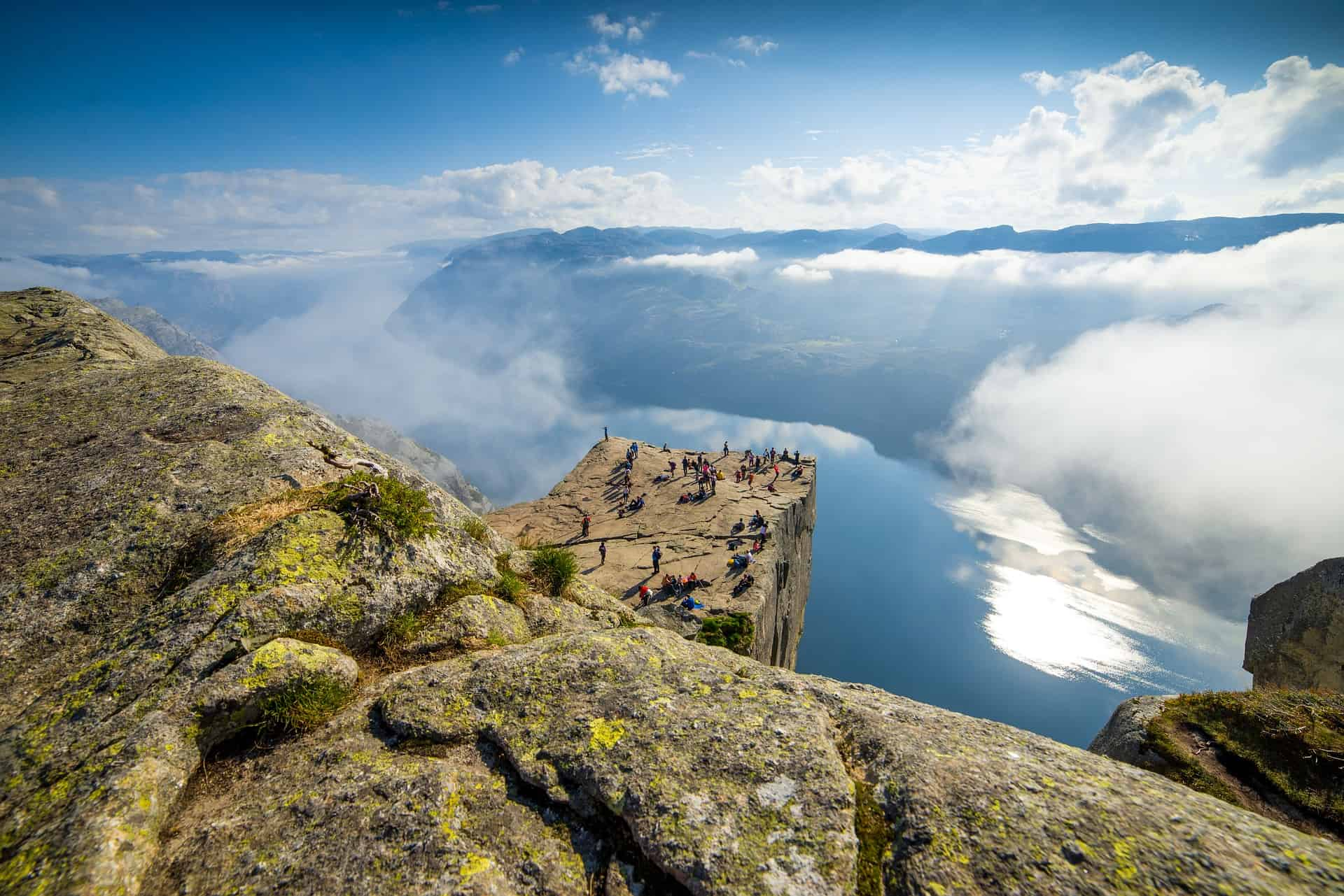 Preikestolen lies 604 meters above the Lysefjord and the journey up is one of the most famous mountain hiking routes in Norway.