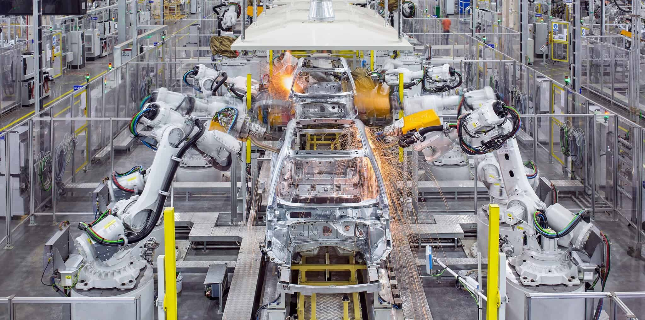 In the Volvo Factory, the cars are assembled by robots in a high-tech way