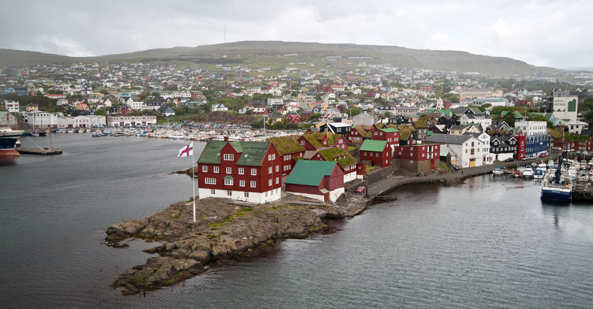 Tinganes is a peninsula in Tórshavn where the Faroe Islands government resides. The town lies on the route between Iceland and the Danish mainland.