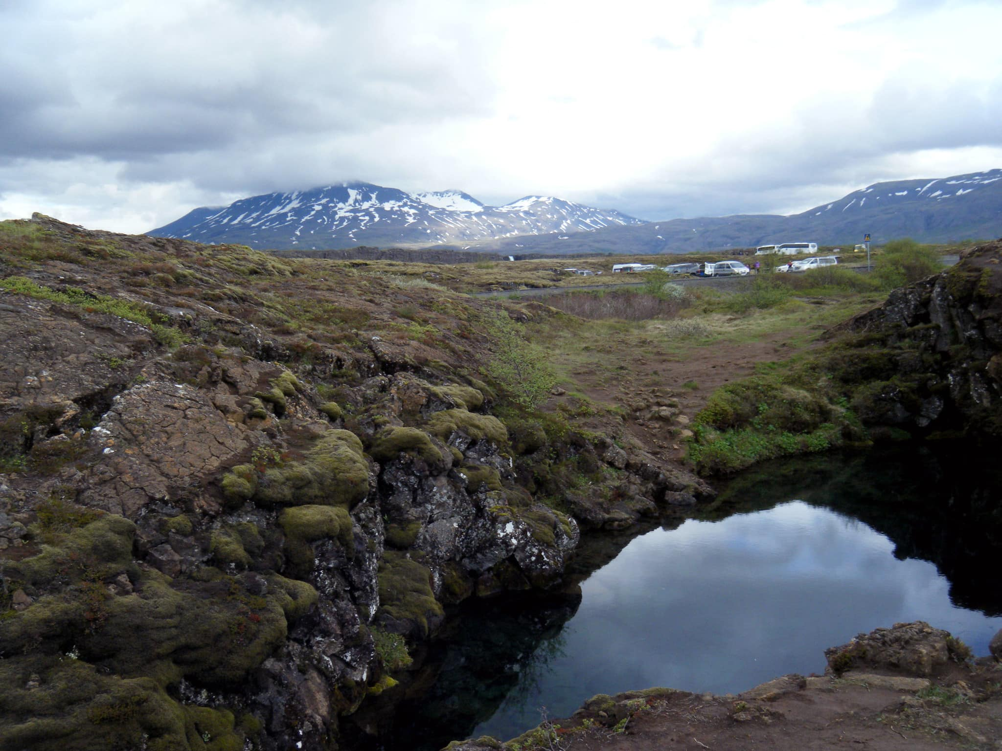 The gap was created by moving the American and European earth plates on which Iceland lies very slowly apart. So you are actually floating between two continents!